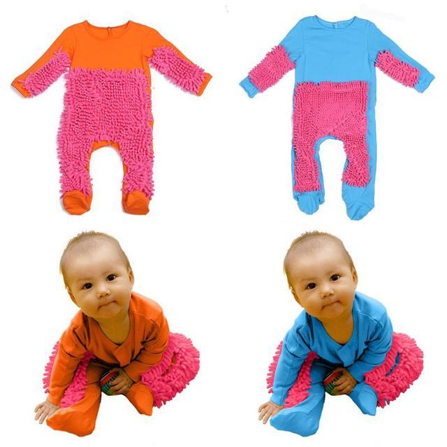 Bebé rojo en general de manga larga niños mopa escalada ropa recién nacido mono piso limpio suave Swob juego traje Swob mono