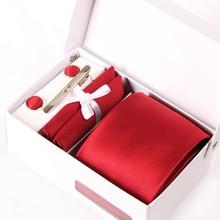 new man red neckwear male mariage necktie silk solid gravata formal business kravat gent wedding cufflink hanky neck tie set