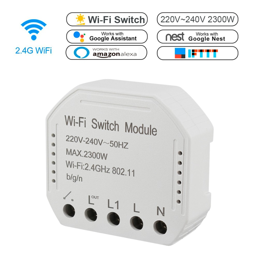 Wifi Smart Switch module 220-240V 2300W Controller Timer light Switch Voice Control Work With Amazon Alexa Google App Smart LifeWifi Smart Switch module 220-240V 2300W Controller Timer light Switch Voice Control Work With Amazon Alexa Google App Smart Life