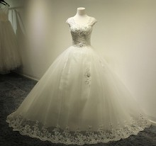 Free Shipping vestido de noiva casamento romantic crystal long wedding dress 2014 new fashionable sweetheart ball bridal gown