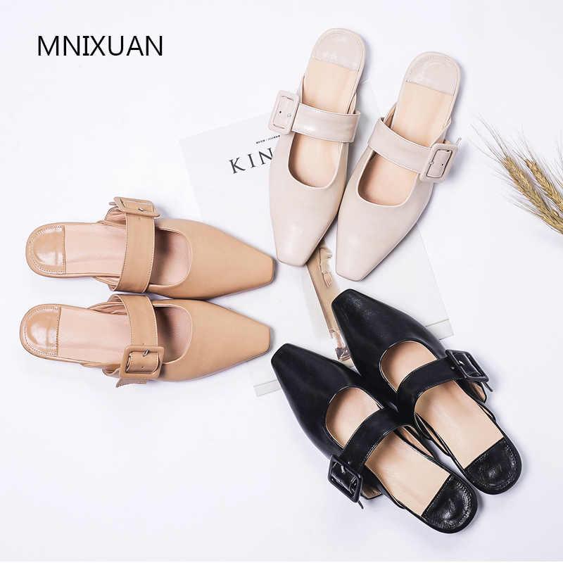 MNIXUAN ผู้หญิงรองเท้า Mules 2019 ผู้หญิงฤดูร้อนใหม่รองเท้าส้นสูงสไลด์ Big Plus ขนาด 41 42 43 รองเท้าสตรี flip Flop รองเท้าแตะสีดำ