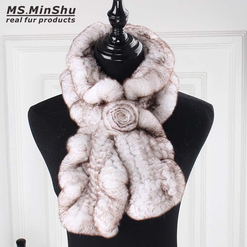 Ms.MinShu Rex Rabbit Fur   Scarf   Fashion Neck Warmer Female Real Fur Shawl Russian 100% Nature Fur   Scarves     Wrap   for winter