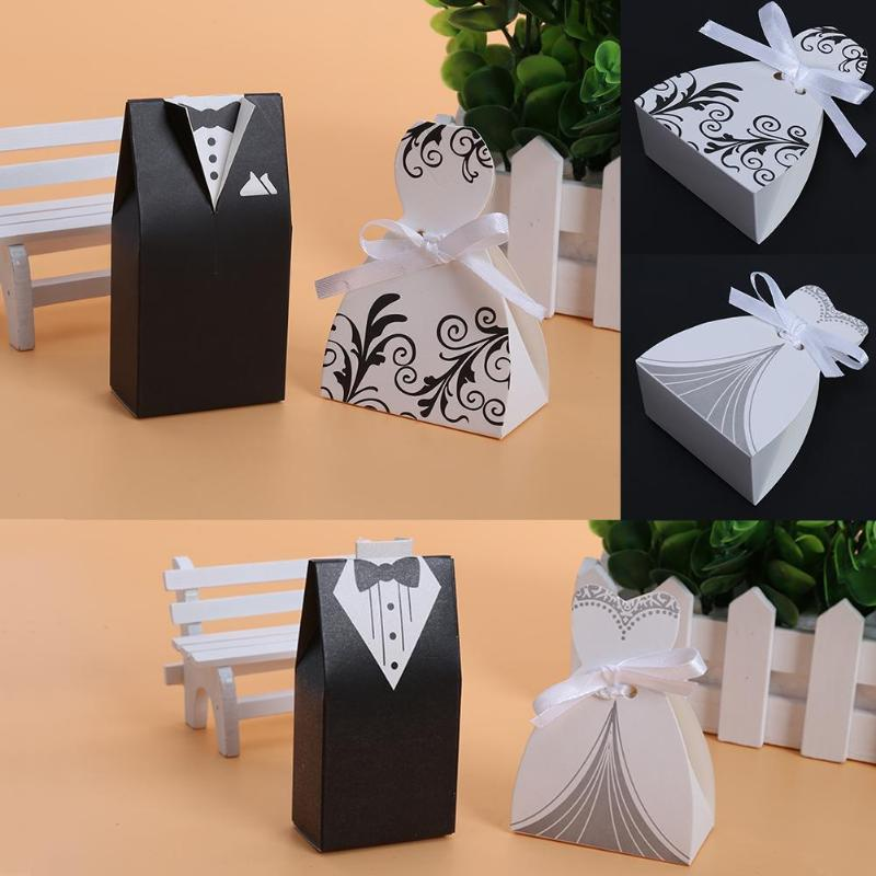 100pcs/lots Bride And Groom Dresses Wedding Candy Box Gifts Favor Box Wedding Bonbonniere DIY Event Party Supplies