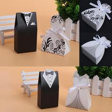 100pcs/lots Bride And Groom Dresses Wedding Candy Box Gifts