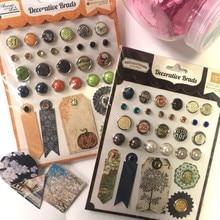 2 узора Хэллоуин стиль Стразы из смолы драгоценный камень и жемчуг Скрапбукинг brads Набор DIY pin украшение с бумажной биркой