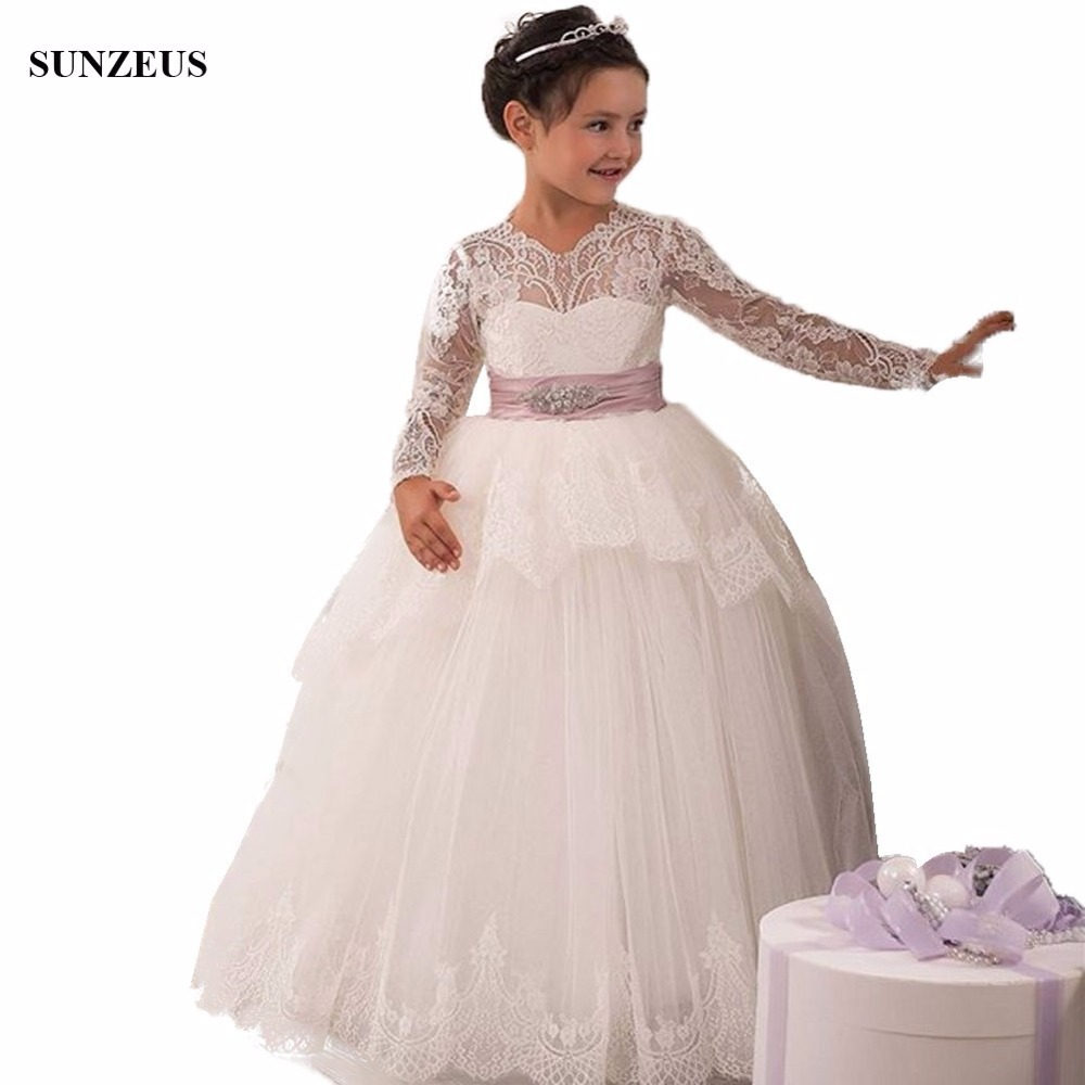 Ball Gown Lace Long Sleeve Flower Girl Dress Floor Length Long Iovry ...