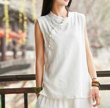 Summer 3color red/pink/white women sleeveless cotton&linen tai chi suit zen nun lay meditation uniforms kung fu tee vest shirts(China)