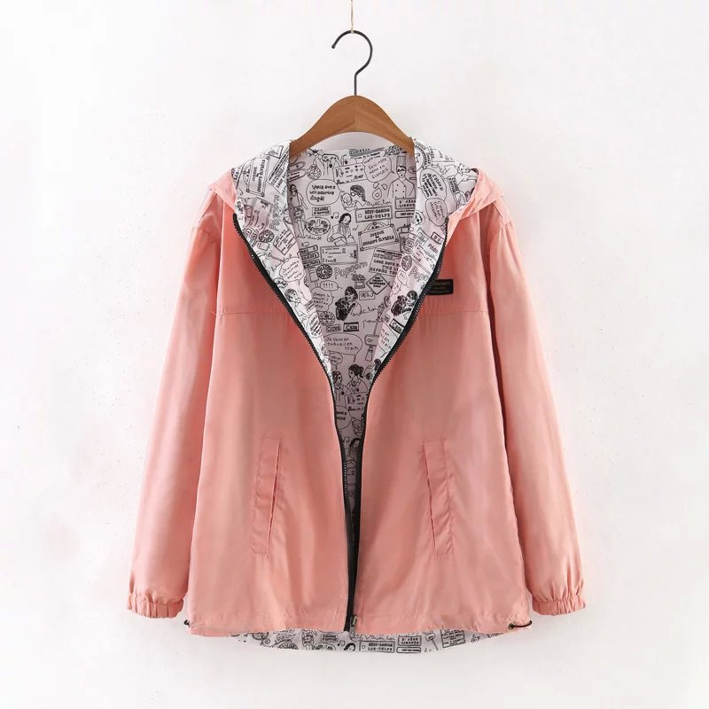 Solid Print Hooded Autumn Coat Women Casual Long Sleeves Hoodies Sweatshirts Female Double-Sided Wear Zipper Plus Size Jackets