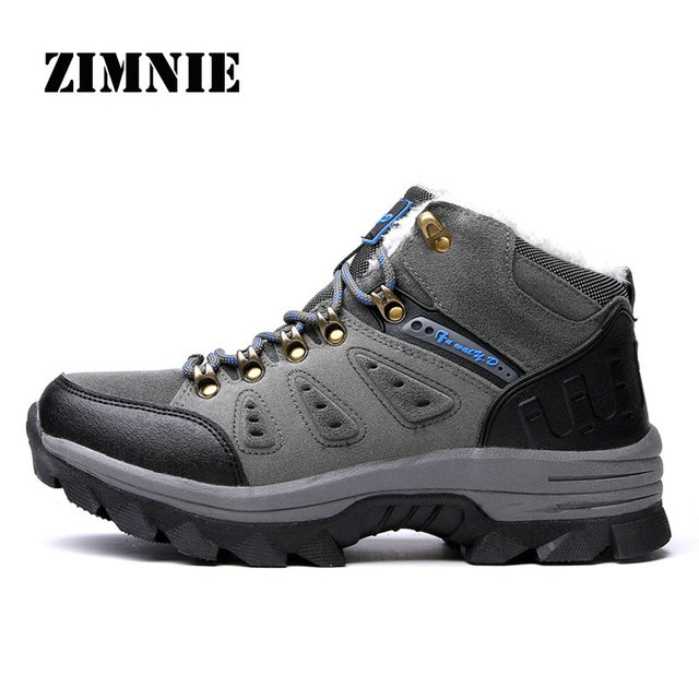 ZIMINIE Winter Plush Fur Snow Shoes For Men Outdoor Sport Hiking Shoes Gray For Men Keep Warm Non Slip Boots Sneakers Size 36~47