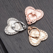 Universal Heart Cute socket 360 Degree Metal Mobile Phone Stand Holder Finger Ring Diamond For iPhone Xiaomi Huawei All Phone(China)