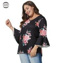 2019 Spring Big Size Womens Shirts Floral Print Tops Three Quarter Sleeve Sexy V Neck Tee Shirt Femme Plus Fashions