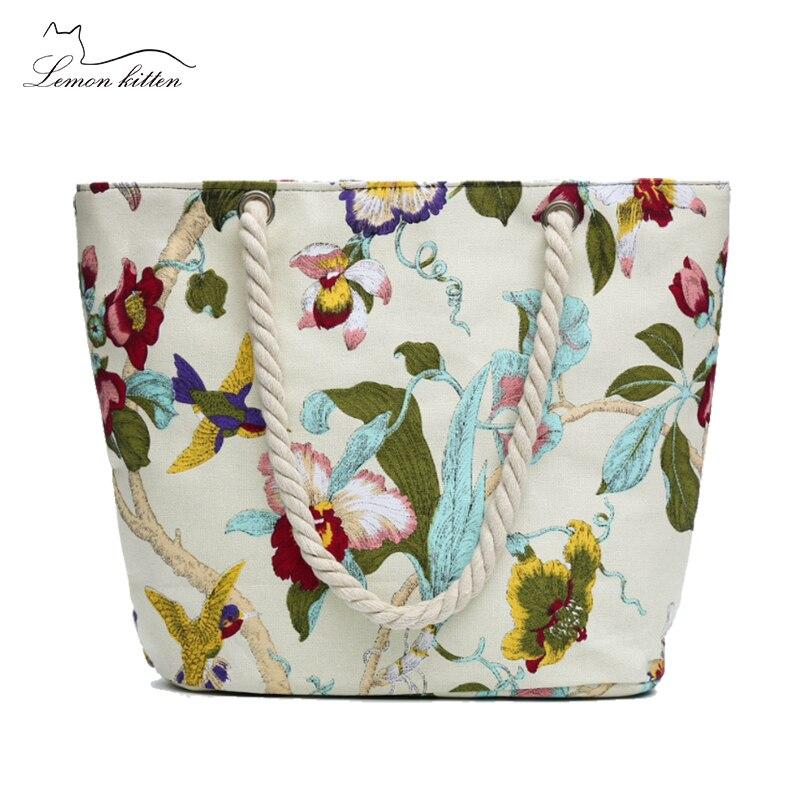 Korea Summer Women Shoulder Bags Flower Embroidery Women Beach bag Vintage Canvas Shopping Bag New Casual Handbags(China)
