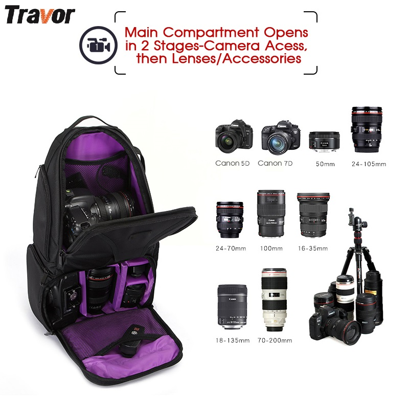 Travor Camera Bag Waterproof Digital DSLR Photo Padded Backpack w/ Rain Cover Multi-functional SLR Camera Soft Bag Video Case