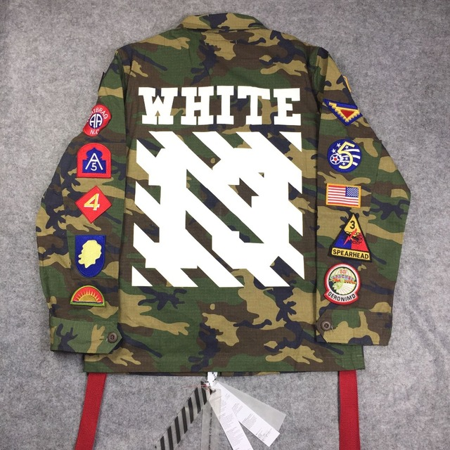 2015 mens  winter designer korean clothes coat kryptek camouflage camo army military jacket off white clothing