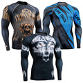 Mens Skin Tights Compression Shirts Long Sleeves T-shirts Body Building Top Full Prints Jersey MMA Rashguard Fitness Clothings