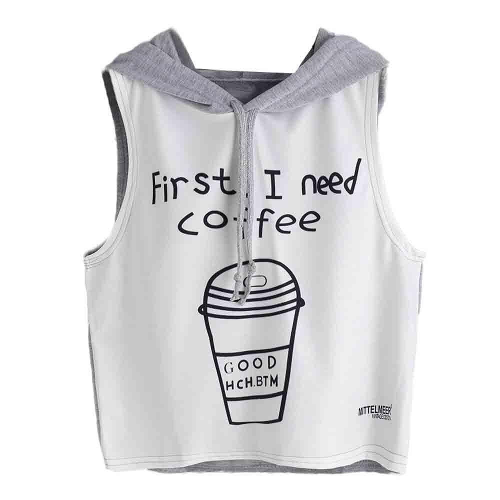 2017 T Hemd Frauen Mode Sexy Kaffee Drucken Mit Kapuze Sommer Crop Tops Ärmelloses T-shirt Tops Camisetas Mujer Heißer Verkauf #5