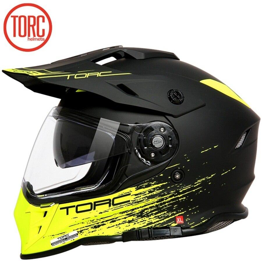 Livraison gratuite 1 pièces TORC intégral DOT ECE Flip Up Racing tout-terrain Capacete double visière modulaire Moto casques casque de Moto