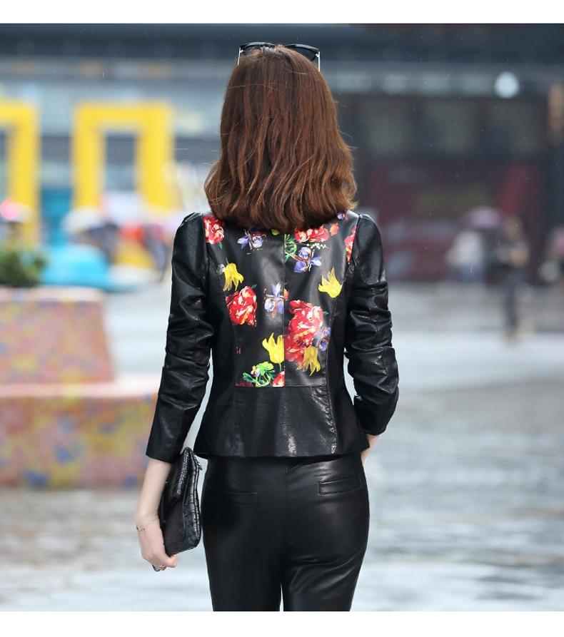 Printemps Mince D'impression Femelle Cuir Survêtement Noir Femmes Automne En Court Nouvelle Wertuiop Veste Vêtements De Manteau Mode q1BWIcEF4g