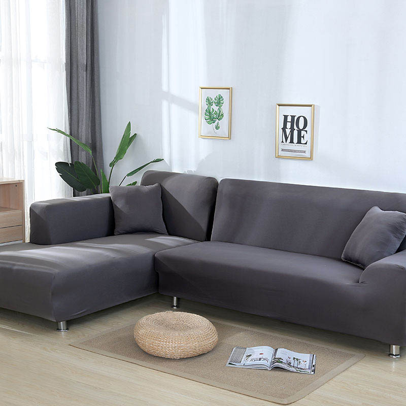 L shaped Solid Sofa Cover with Elastic for Sectional and Corner Sofa with Deep Gap Suitable in Living Room and Office 4