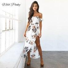 WildPinky White Print Elegant Vintage Women Dress Sexy Boho Off Shoulder Summer Beach Split Long Casual Midi Vestido