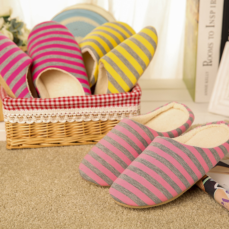 Women Soft Warm Stripe Slippers Cotton Home Indoor Non-slip Slippers Ladies Fashion Flat Casual House Winter Shoes QBT1092 new new men women soft warm indoor slippers cotton sandal house home anti slip shoes