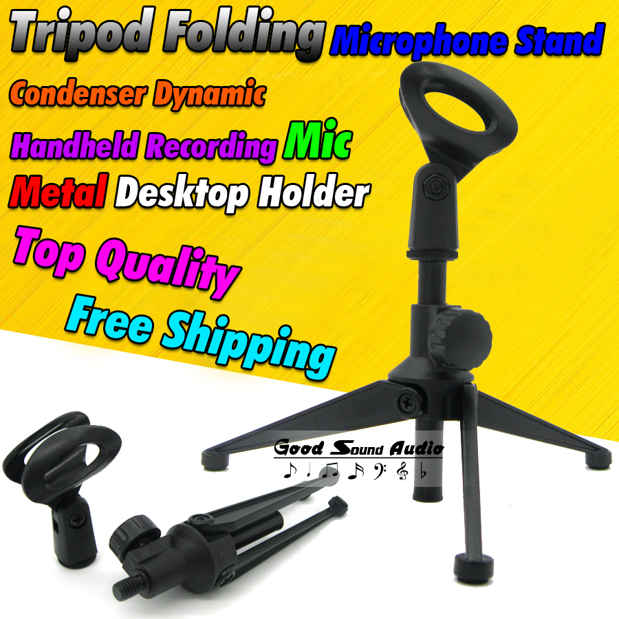 Metal Adjustable Height Desktop Table Clamp Clip Tripod Folding Microphone Stand Computer Singing PC Dynamic Handheld Mic Holder