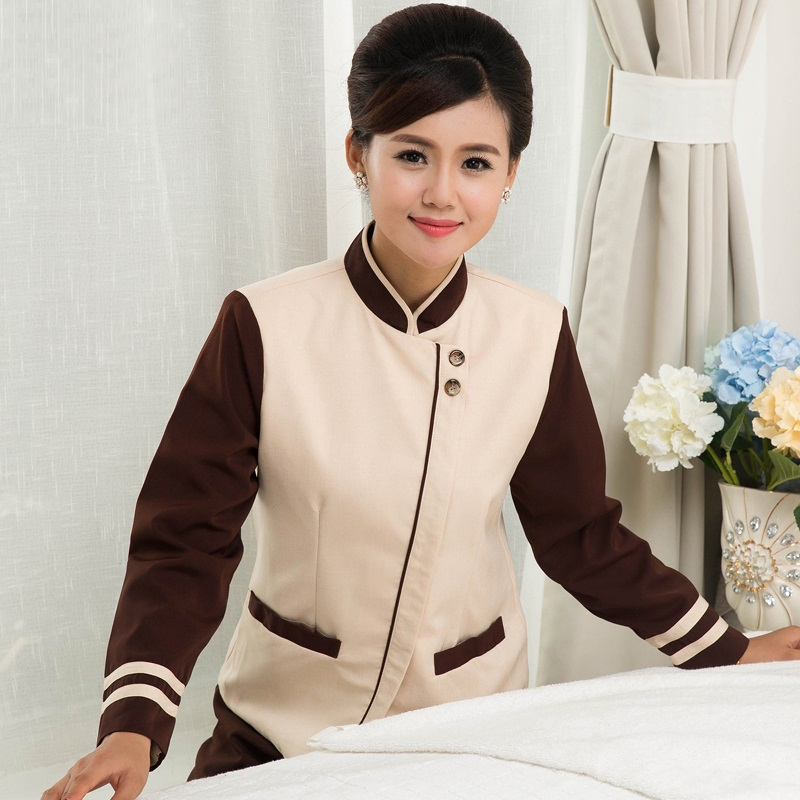 (10 set Coat&Pant)Cleaning service long sleeve pa quality work wear uniforms The hotel housekeeper overalls cleaner shirt pants