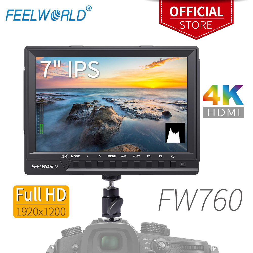 Feelworld FW760 7 Inch IPS Full HD 1920x1200 4K HDMI Camera Monitor for DSLR Rig with Peaking Focus Assist Histogram Exposure feelworld fw760 fullhd 1920x1280 7 camera video ips filed monitor hdmi peaking focus assist contrast 1200 1 wide view angles