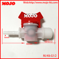 Free shipping!(10pcs/Lots) MJ-K6-G1/2 Water valve for barb:6mm to Male thread:G1/2