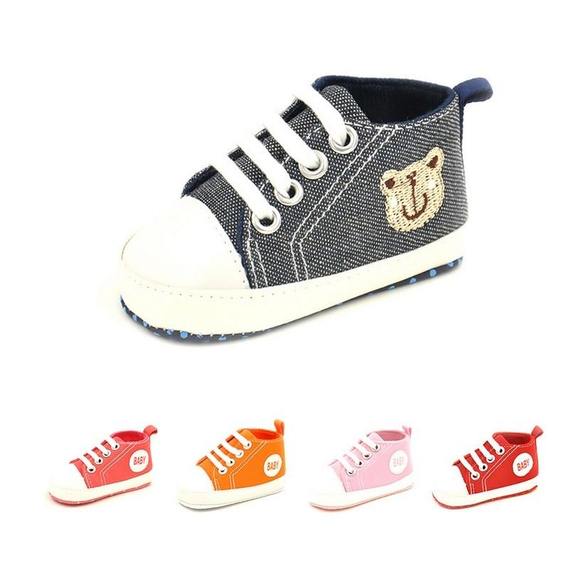 2018 Baby Boy Shoes Anti-Slip Newborn First Walker 0-2Y Children Sneakers Girls Canvas Sport GYM Shoe Plimsolls Infant Boots