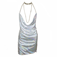 Sexy Lower Cut Deep V Neck Kendall Jenner Party Dress Halter Hollw Out Backless Shining Sequined Dress Off Shoulder Summer Dress