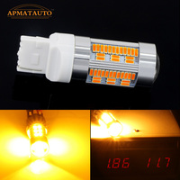 2x Canbus No Hyper Flash Amber Yellow 7440 W21W WY21W T20 LED Replacement Bulbs For Car