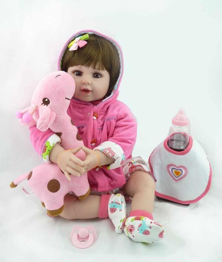 "NPK 20"" Baby Doll With Giraffe Doll soft Body Silicone Vinyl Adorable Lifelike Toddler Baby Bonecas Girl Kid Bebes Reborn Dolls"