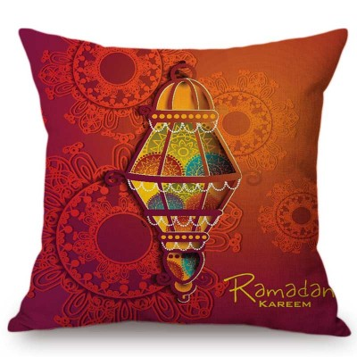 Middle East Arab Islamic Lantern Watercolor Calligraphy Art Muslim Sofa Throw Pillow Cover Eid Ramadan Decoration Cushion Cover