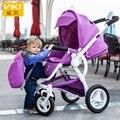 Bidirecional de Alta Paisagem Crianças Carrinho de Bebê Carrinhos De quatro rodas Suspensão Da Liga de Alumínio Portátil Infantil buggy pram