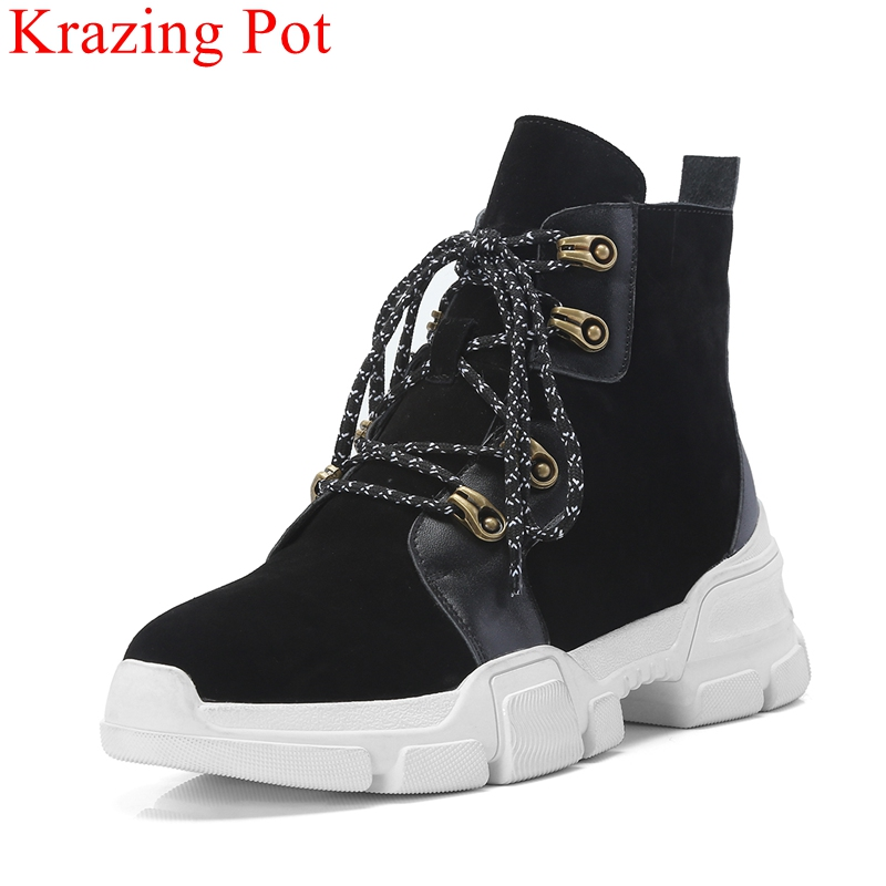 Krazing Pot superstar round toe cow suede lace up high heels women ankle boots brand platform metal casual winter shoes Lbf2 krazing pot cow suede fashion winter big size round toe art square high heels embroidery women flowers ankle chelsea boots l15