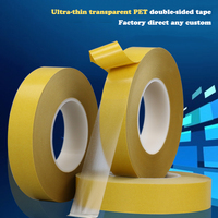 8mmx100m Ultra Thin 0 05mm High Temperature Strong Adhesive PET Yellow Film Clear Double Side Tape