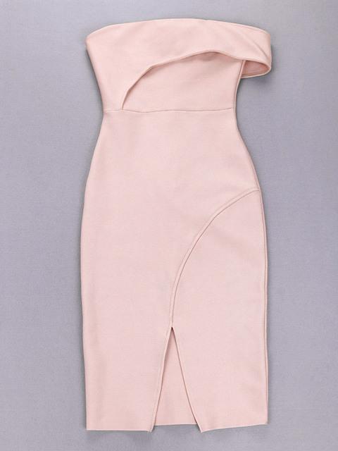 One Shoulder Pink Bandage Dress Sexy Women Bodycon Vestidos Split Sleeveless Midi Dresses Celebrity Prom Party Club Wear