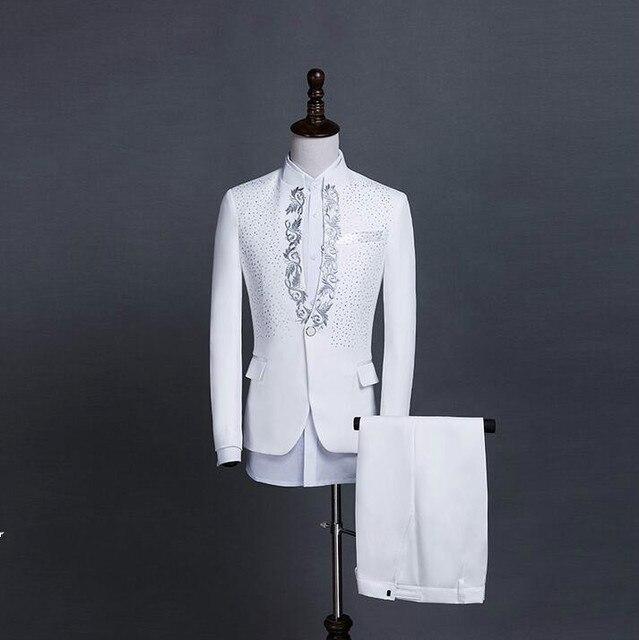 8efb944a9 Blanco negro paillette trajes set traje etapa coreana Delgado masculino  hombres lentejuelas vestido formal ropa cantante