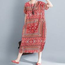 2019 Newest Summer Cotton Linen Ethnic Style Short-Sleeved Dress Women Party Muslim T-Shirt Floral Print Loose Casual Long Dress цены