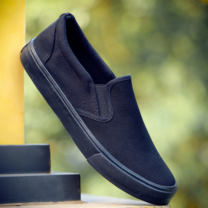 Image 1 - Black White Solid Men Casual Shoes Simple Canvas Mens Loafers 2019 High Quality Anti Slip Comfortable Vulcanized Shoes Man Flats-in Men's Casual Shoes from Shoes