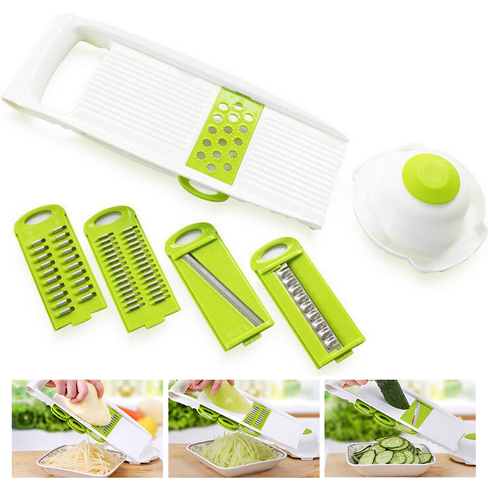 7Pcs/set Multi Mandoline Vegetable Slicer stainless steel chopping greens Grater inventive Kitchen <font><b>gadget</b></font> Carrot Potato cutter