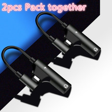 2 pcs חבילה USB C כדי לאוזניות מתאם סוג C 3.5mm אודיו וטעינה ממיר תואם עם xiaomi huawei סוג C מכשיר