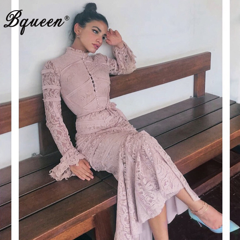 Bqueen 2019 New Women Bandage Dress Long Sleeve Stand Neck Lace Stripe Ankle Length Trumpet Mermaid