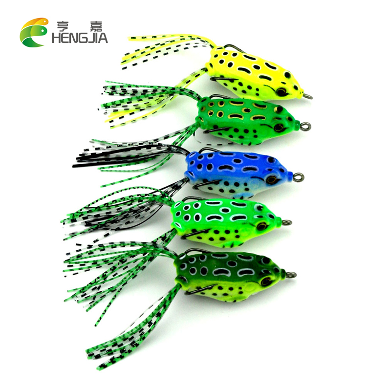 HENGJIA Lot 5 stk Soft Plastic Fishing lokker Frog lokke med kroge Top Water 5CM 8G kunstig fisk tackle