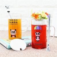 2018 Kawaii Cartoon Panda Glass Cup High Quality Glass Coffee Cups Breakfast Cup with Lid Spoon Fruit juice Mugs For Lovers Kids