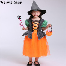Hot Sale Kids Halloween Dresses Children Cosplay Party Costume Dress With Hat
