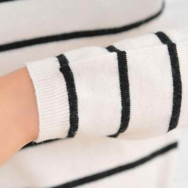 YUNSHUCLOSET 2017 Hot Sales Women's Knitted Cashmere Wool Sweater Stripe Woman Winter Clothes Pullover Free Shipping 1