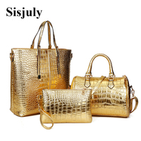 3Pcs Set Alligator Leather Women Shoulder Bag Handbag and Purse Ladies Business Luxury Large Tote Bag Women Boston Messenger Bag