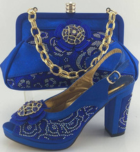 Wedding Shoes And Bag Set With Stones For Party Dress High Quality African Italian Shoes And Matching Bag Set ME3316